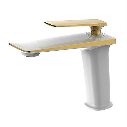 Caliente y frío moderno minimalista Blanco y Oro,Grifo Lavabo Latón Macizo, Herramienta Diseño Moderno Grifo para Lavabo Ahorra del Agua