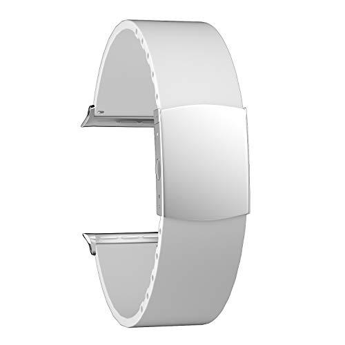 SOUWILA Compatible con Silicona Correa Reloj 38 mm 40 mm 42 mm 44 mm iWatch Series 6/5/4/3/2/1 Caucho Correa Reloj con Acero Inoxidable Hebilla Desplegable (42mm, White-Silver)