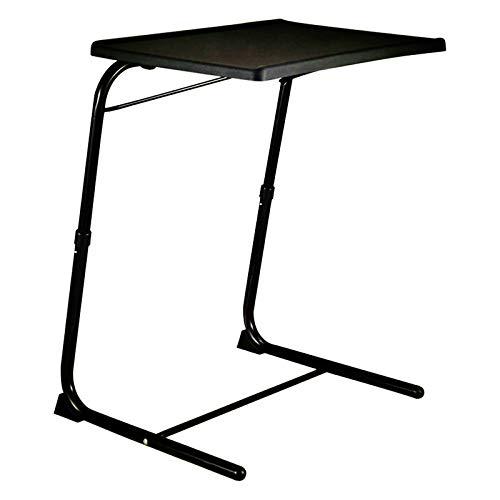Ypkia Mesa auxiliar blanca para cama, portátil, para cama, sofá, altura ajustable, color negro, mesa auxiliar plegable de 70 cm, para salón, bandeja de cama alta, mesa de servicio