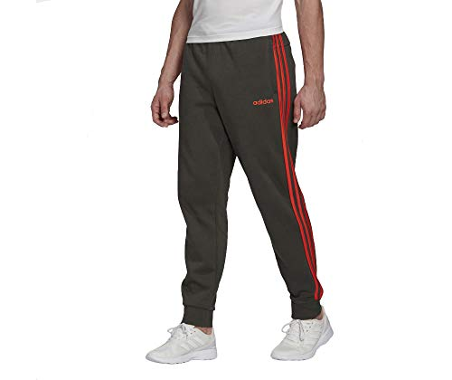 For Sale! adidas Men's Essentials 3-Stripes Fleece Jogger Pant, Legend Earth/Active Orange, Large