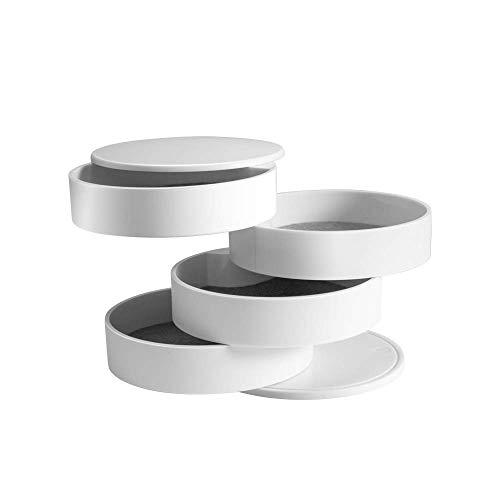 Delymc Boîte à Bijoux DN01 Boîte à Bijoux Rotative à 360 °, Boite de Rangement avec 4 Couche pour Collier, Bracelet, Boucles d'Oreilles, Petits Articles