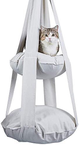 Leilims Kattenbed, hangmat met dubbel traps, afneembaar, opvouwbaar, wit