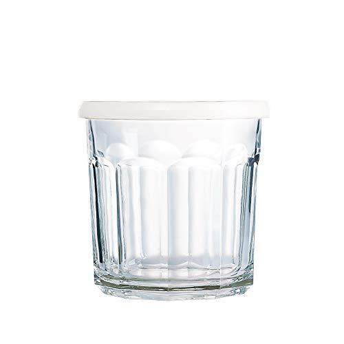 Arc International Luminarc Working Storage Jar/Dof Glass with White Lid  14-Ounce  Set of 4 (H6812)