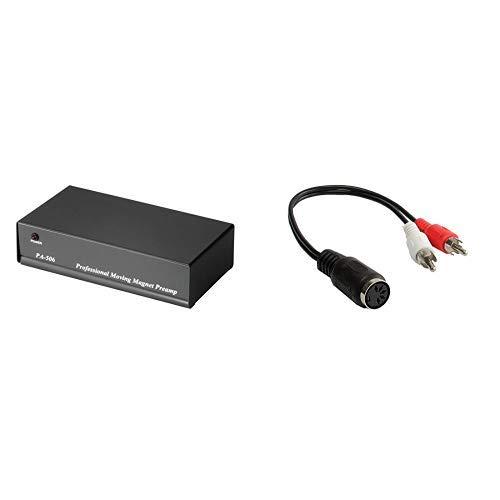 Hama Stereo Phono-Vorverstärker PA 506 (für Plattenspieler, inkl. Netzadapter 230V/50Hz, 3000mA, Cinchkabel 0,9 m) schwarz & Audio Adapter 5-pol DIN Buchse / 2 Cinch Stecker