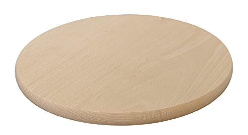 bas Frühstücksbrettchen Schneidebrett aus Holz rund | Brotzeitbrett | natürlich | Massivholz | Servierbrett Ø 25 cm (1)