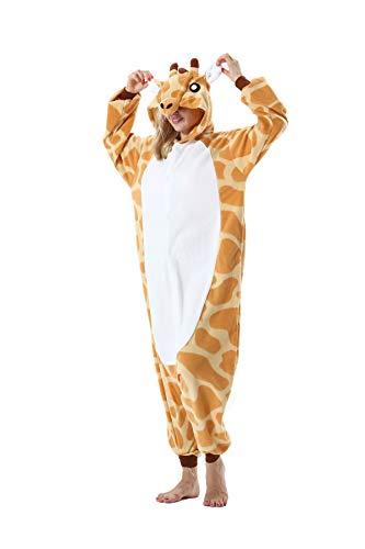 Erwachsene Jumpsuit Onesie Tier Karton Fasching Halloween Kostüm Sleepsuit Cosplay Overall Pyjama Schlafanzug, Giraffe, S