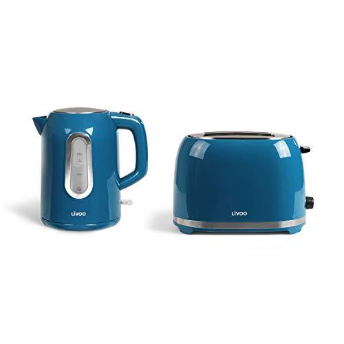 Hervidor de agua inalámbrico y tostadora, color azul, set de desayuno (apagado automático, resistencia oculta, 1,7 litros)