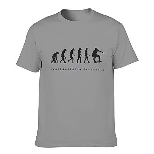 T-Shirt Skateboarding Evolution 100% Polyester für Herren Europäischer Stil Muster mit glatter Haptik Geschenk für Neujahr Gr. XXX-Large, dunkelgrau