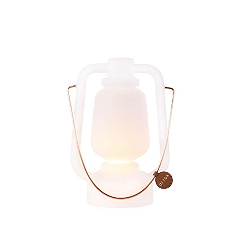 QAZQA - Modern Tischleuchte | Tischlampe | Lampe | Leuchte wiederaufladbar 30 cm IP44 weiß - Storm Small Dimmer | Dimmbar | Außenbeleuchtung - Kunststoff Rund - | LED