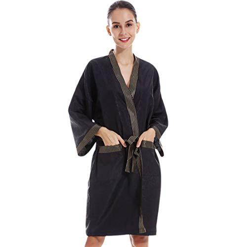 Pinji - Vestidos de Peluquería para Salón, Bata de Masaje en el SPA Bata de Kimono de Salón para Salón de Belleza Uniforme de Cliente de Moda Negro