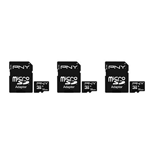 PNY Cartão de memória flash microSDHC Classe 4 de desempenho de 16 GB (P-SDU16G4X3-MP)
