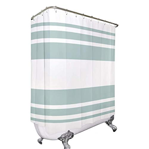 Riyidecor Clawfoot Tub Shower Curtain Round Tub 180x70 Inch Bathtub Green White Striped All Wrap Around Polyester Fabric Decor Panel Set Waterproof with 32-Pack Metal Shower Hooks