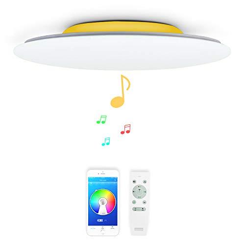 36W Φ40cm Musica Plafones LED con 2 Bluetooth Altavoz y Mando, Lampara Regulable de Techo con RGB Color,Moderna Redondo Luz Para Iluminacion Interior Habitacion Baño comedor Salon