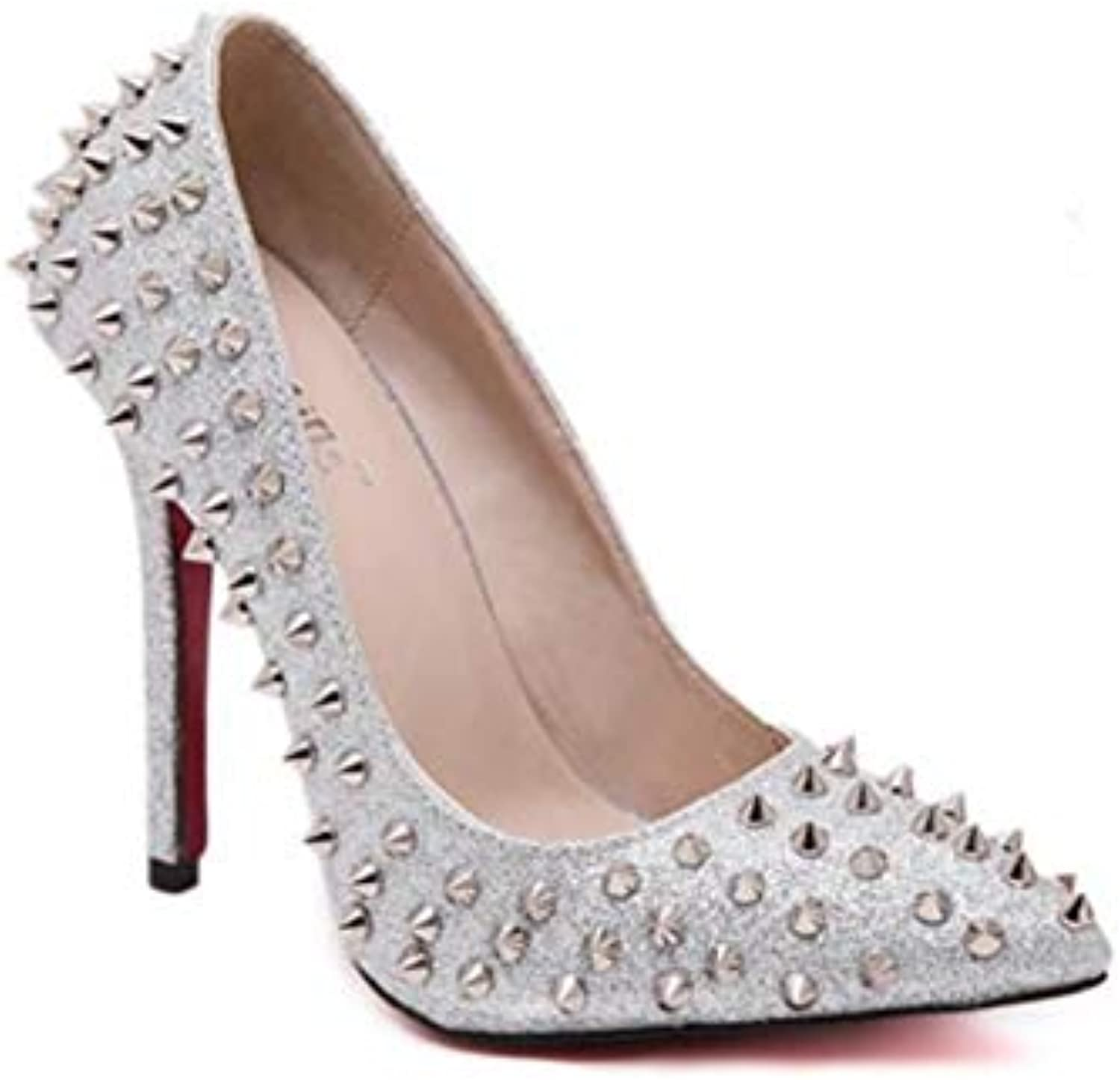JQfashion Rivets for Ladies'High Heels with High Pointed and Thin Heels