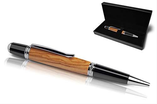 Handgefertigter Kugelschreiber aus Echtholz | Hochwertiges Geschenkset mit Etui | Business Geschenk Set aus Edel Holz für Mitarbeiter und Kunden (Olivenholz)