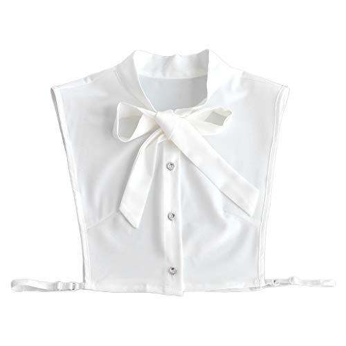 xian Mujeres Chifón Falso Falso Cuello Blanco Negro Pajarita Blusa Desmontable Media Camisa