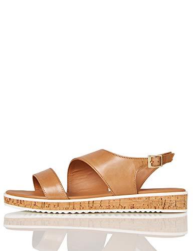 Marca Amazon - find. Assymetric Cork Sole Leather - Sandalias con plataforma plana Mujer