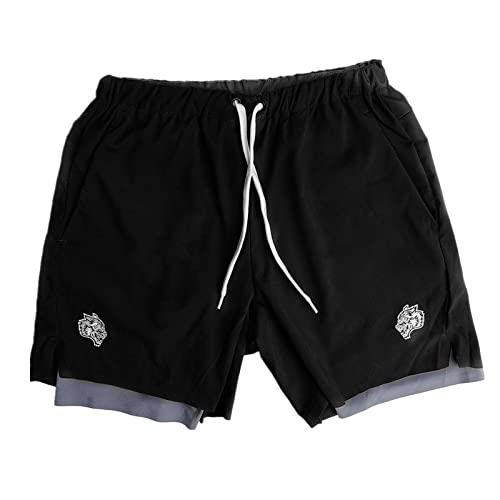 LGQ Herren Fitness Shorts Doppelschicht...