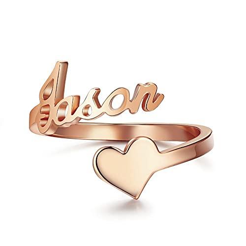 Anillo con nombre personalizado para mujer, acero inoxidable, anillos de corazón grabados personalizados, anillo abierto ajustable, novia, esposa, mamá, regalos, joyería de declaración