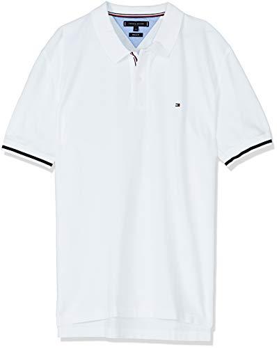 Tommy Hilfiger Herren Basic Tipped Regular Polo Poloshirt, Weiß(Bright WHITE100), Large (Herstellergröße:L)