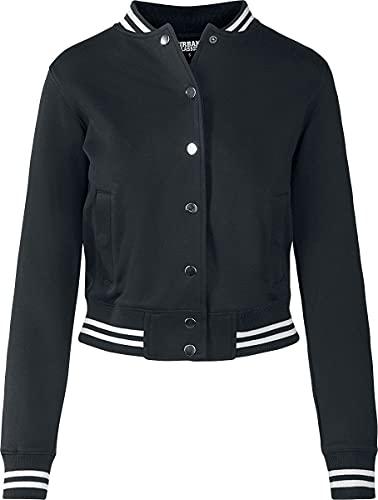 Urban Classics Ladies College Sweat Jacket Chaqueta de chándal, Negro (blk/blk), L para Mujer