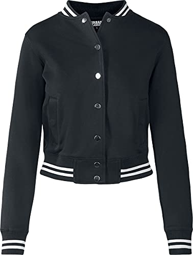 Urban Classics Ladies College Sweat Jacket Felpa a Giacca, Nero (Blk/Blk), M Donna