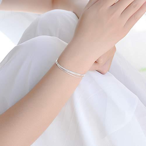 aolongwl Pulsera Vender Bien 925 Plata esterlina Triple Capa Serpiente Cadena Pulsera para Mujeres joyería de Moda 2020 Regalos Bracelet