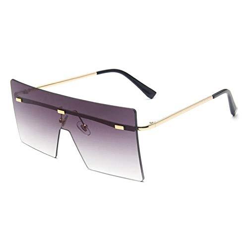 ZZOW Gafas De Sol Cuadradas Sin Montura De Gran Tamaño Vintage para Mujer, Gafas De Sol Transparentes De Marca De Lujo, Gafas De Sol Femeninas, Grandes Sombras