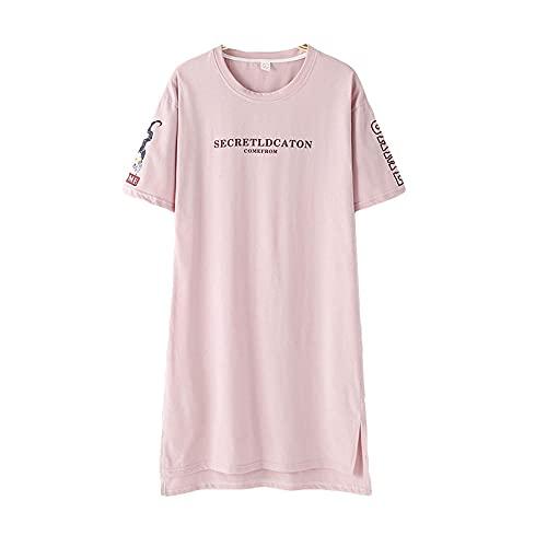 KKLLHSH Camisón de Verano de algodón de Manga Corta con Cuello Redondo, Ropa de Dormir Informal de Gran tamaño, Camisones de Mujer, Ropa de Dormir-Pink_XL