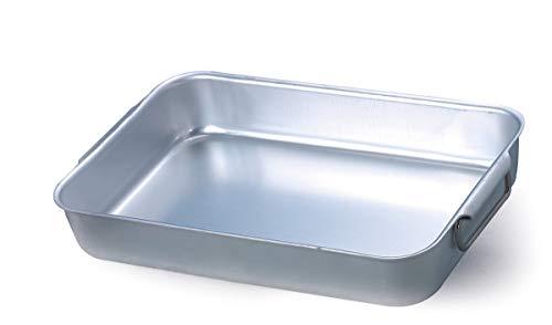 Pentole Agnelli ALMA15030 Rostiera Rettangolare Alta con Maniglie, Alluminio, Argento, 30 x 23 x 7 cm