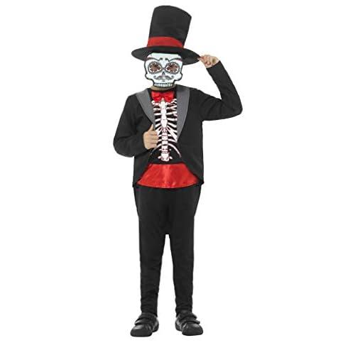 SMIFFYS Costume Giorno dei morti da bambino, Nero, con giacca, top stampato, cappello e