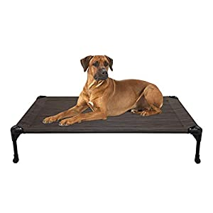 Veehoo Cooling Elevated Dog Bed, Portable Raised Pet Cot with Washable & Breathable Mesh, No-Slip Rubber Feet for Indoor & Outdoor Use, Large, Brown