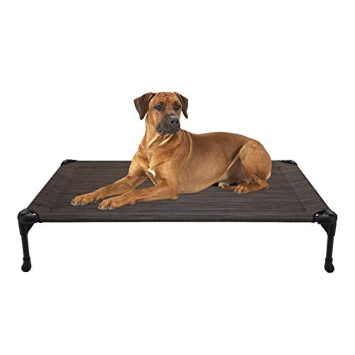 Veehoo Cooling Elevated Dog Bed - Portable Raised Pet Cot with Washable & Breathable Mesh, No-Slip Rubber Feet for Indoor & Outdoor Use, Oversize Package, Large, Brown