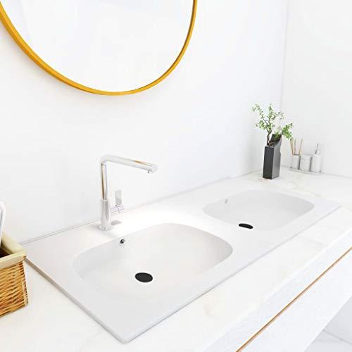 Waschtisch Waschbecken Waschtisch Waschtisch Waschbecken Badezimmer Waschbecken Einbaubecken Doppel Waschtisch 1205x460x145mm SMC Weiß