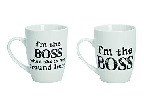 Porzellan Tassen Set für Paare mit Sprüchen Bedruckt - 3 Aufdruck Varianten - Kaffeetassen Aufschrift I'm The Boss 250ml - Paar Tassen in Weiß & Schwarz