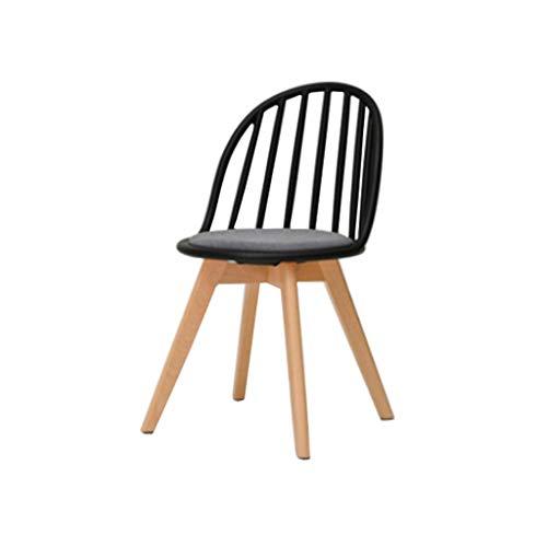 Eetstoel, Terug Naar Huis Vrije Tijd Onderhandelen Bureaustoelen Eenvoudige En Moderne Massief Houten Bureaustoel (Color : Black)