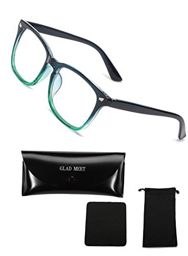 GLAD MEET PCメガネ ブルーライトカット メガネ 眼鏡 ゲーム用メガネ UVカットメガネ ケース 袋 クロス 4点セット (ブラック&グリーン)