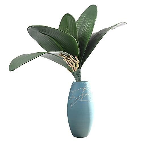 RSTYS 10 hojas artificiales de plantas de palma, 28 cm, hojas de plantas realistas para decoración de estantes de escritorio, sin jarrón