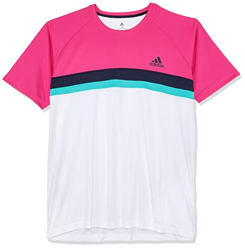 adidas Herren Club Colorblock Kurzarm T-Shirt, Shock Pink, L