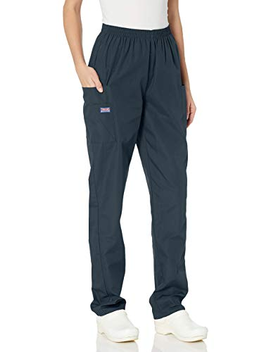 Cherokee Women's Plus Workwear Elastic Waist Cargo Scrubs Pant, Pewter, XXX-Large Petite