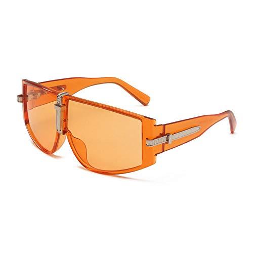 Gosunfly Gafas de sol integradas con personalidad a prueba de viento de los hombres de la moda gafas de sol de moda de color océano con montura grande, naranja transparente