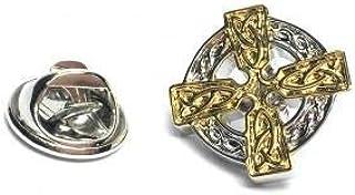Insignia de pin de solapa de cruz celta de dos tonos