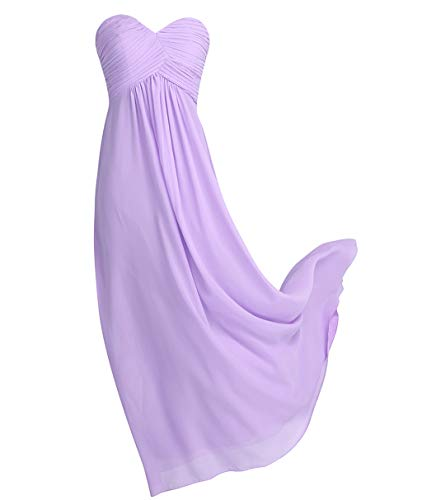 YiZYiF Sweetheart Bridesmaid Chiffon Prom Dresses Strapless Long Evening Gowns Lavender 4