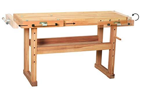 Hobelbank BUCHE Werkbank Holzwerkbank Werktisch Arbeitstisch mit Spannzange - 6