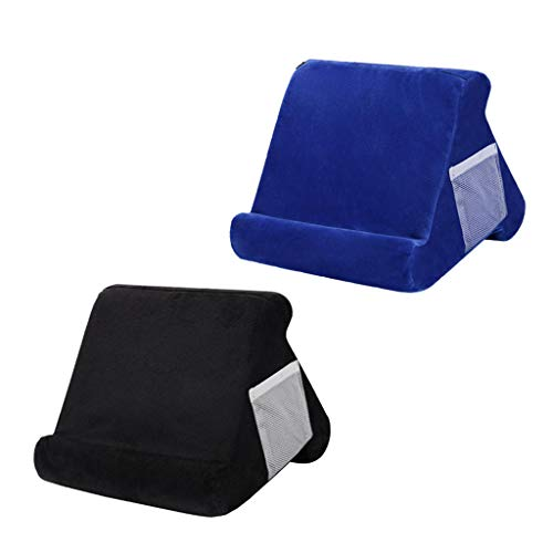 CUTICATE Pillow Stands for Tablet Book Reader Holder Rest Cushion Black+Blue