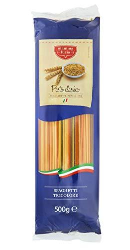 mamma lucia Pasta Spaghetti tricolore dreifarbig mit Tomate und Spinat, 5er Pack (5 x 500 g)