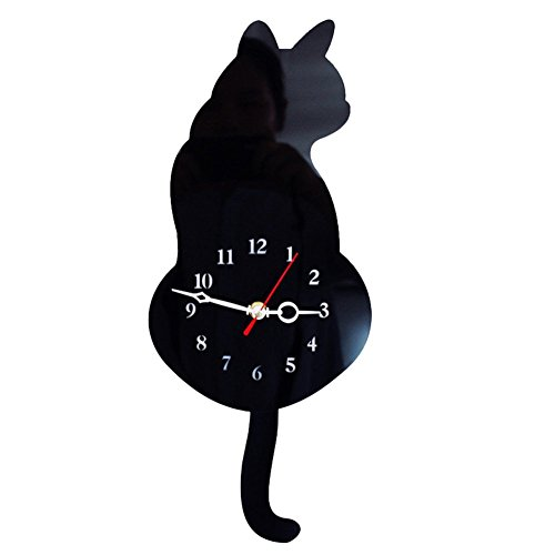 SEADEAR Cat Wall Clock Cat Swinging Tail Silent Wall Clock Acrylic Mute Creative Clock Wag Tail Wand Quartz Cat Wall Clock for Living Room Bedroom Kitchen Home Decor