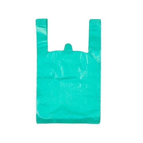 LazyMe T-Shirt Carry-Out Bags Plastic Grocery Bags with Handles Shopping Bags in Bulk Restaurant Bags, Standard Supermarket Size,12 x 20 inch (Lake Blue 100 Pcs)