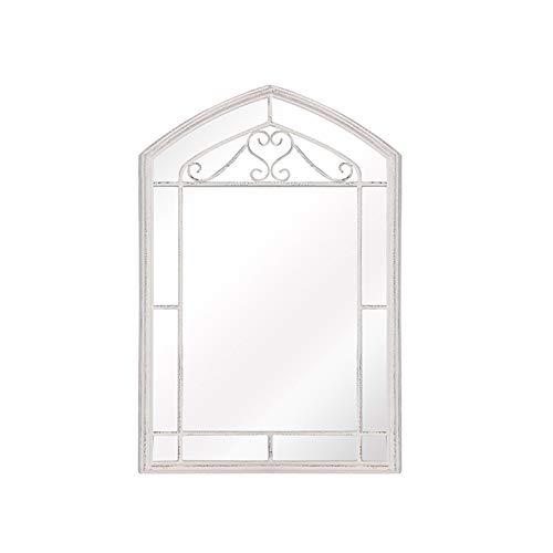 Decoración del hogar Espejos Blanco Retro Espejo, Arte De Hierro Montado En La Pared Princesa Decorativa Dormitorio Dormitorio Corredor Baño Espejo De Cuerpo Entero 62 * 40 C(Size:62*40CM,Color:White)