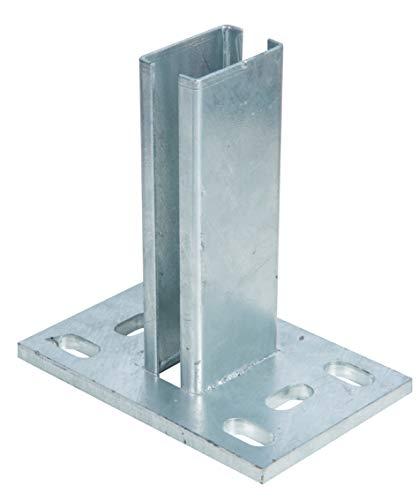 GAH-Alberts 686055 Pfostenträger für Zaunpfosten für Doppelstabmatten | zum Aufschrauben | feuerverzinkt | Platte 150 x 100mm | für Pfosten 60 x 40 mm